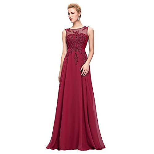 Grace Karin Women V-Back Beads Long Gown Evening Prom Dress,Dark Red,20 Plus