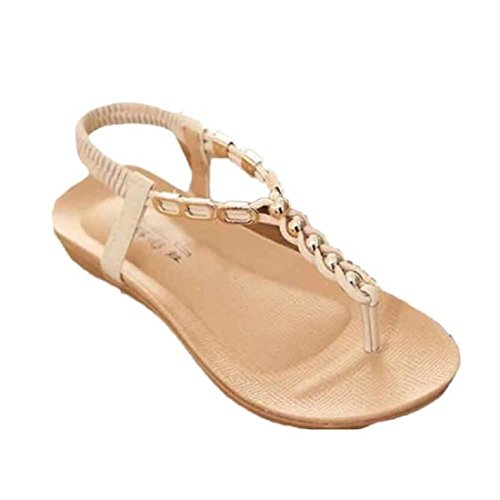 Tongshi Zapatos de verano de Bohemia dulces moldeados de las sandalias del dedo del pie del clip playa de las sandalias Beige