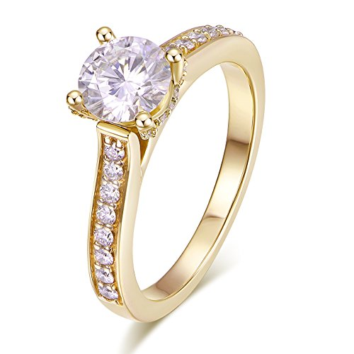 (Hafeez Center 14K Solid Gold DEF VS 1ct 6.5mm Round Brilliant Cut Halo Solitaire Moissanite Engagement Rings Women (Yellow-Gold, 6))