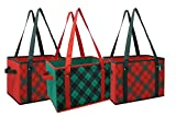 Earthwise Reusable Grocery Bag Box Shopping HOLIDAY Xmas Christmas Plaid Design Deluxe COLLAPSIBLE