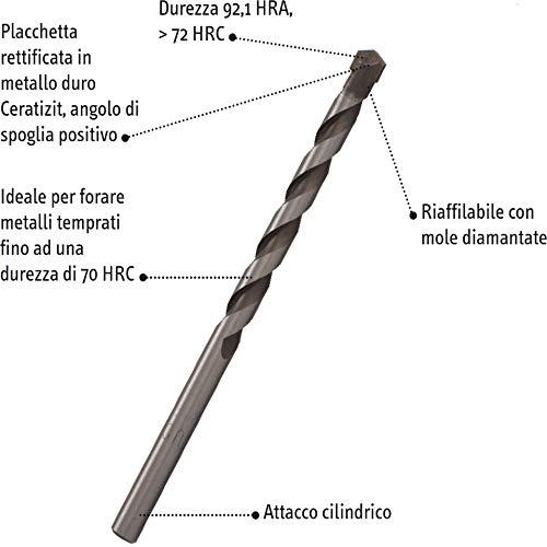 Punta con placchetta in metallo duro Ceratizit corta codolo cilindrico 5,00 mm