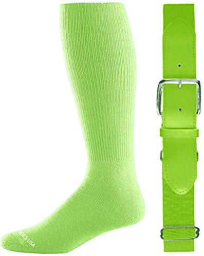 Neon Pink Green (Joe's USA - Baseball Socks & Belt Combo Set ( All Sizes & Colors Available) (Neon Green, Youth)