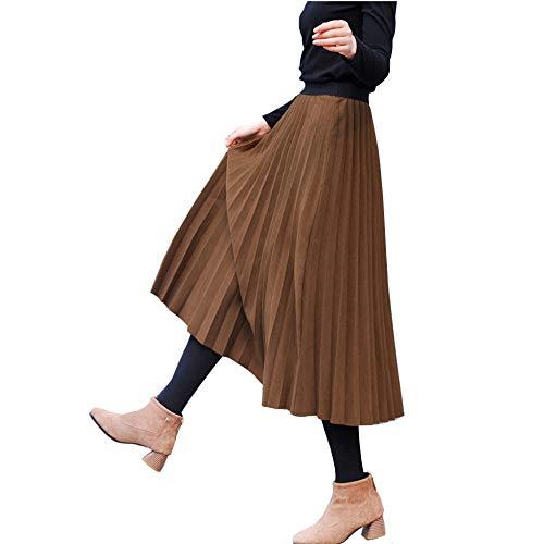 Falda Para Line Fiesta Ei Mujer A Midi Cintura De Acordeón Brown Invierno Maoying Plisada Lana Elástica Otoño dnf7dq