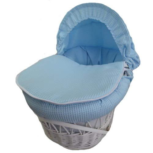 BABY RES® New Blue Waffle Moses Basket Covers 4 Piece Bedding Set OnlyInc Quilt, Skirt, Hood & Sheet A B C Design