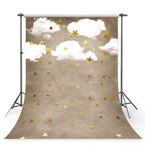 (MEHOFOTO Photo Studio Booth Background Props Cute Children Cartoon White Cloud Gold Stars Birthday Baby Shower Party Decoration Backdrops Banner for Photography 5x7ft)