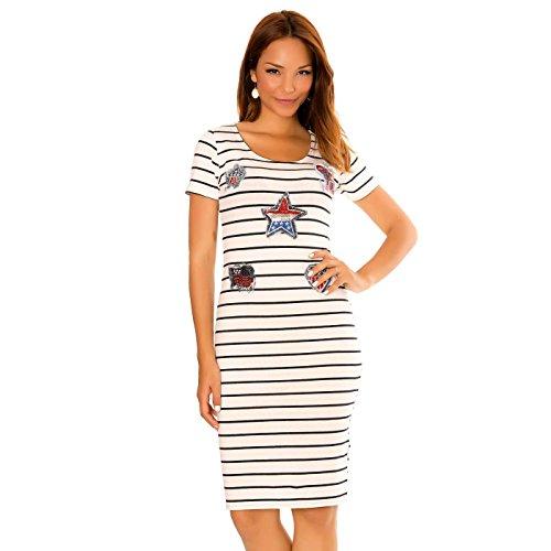 Miss Wear Line Damen Kleid weiß weiß