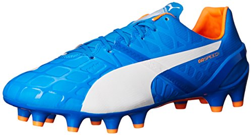 Puma Mens Evospeed 1.4fg Voetbalschoen Electric Blue Limonade / White / Orange Clownfish