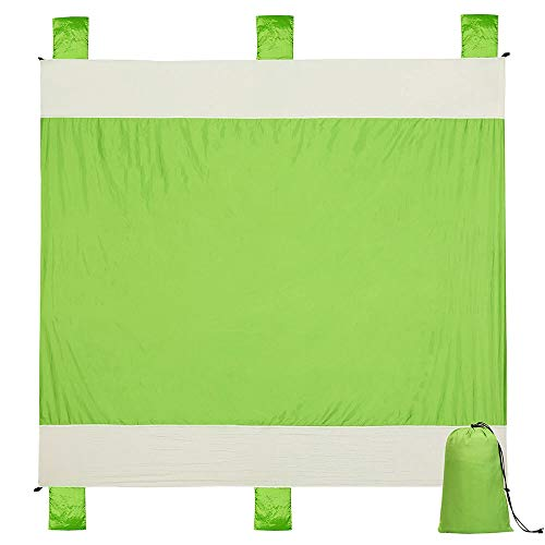 - Alomidds Beach Blanket Sand Mat Camp Blanket Large Compact 6 Adults, Portable, Quick Drying Blanket, Corner Pockets, Loops, Polyester, Best for Park Hiking Outdoor Activities (Green, 78''x86'')
