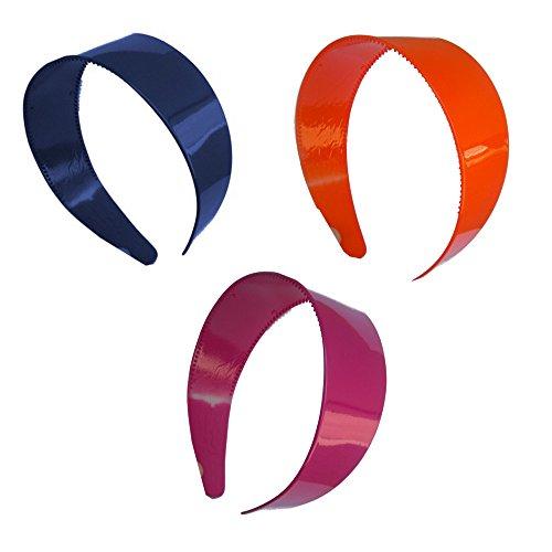 Set of Three 2 Inch Navy Orange & Mauve Plastic Headbands with Teeth