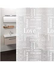 USingteck Milky White PEVA Shower Curtain Liner, Nordic Style Love Letters Pattern, Waterproof, Non Toxic, Eco Friendly, 72x72 inch