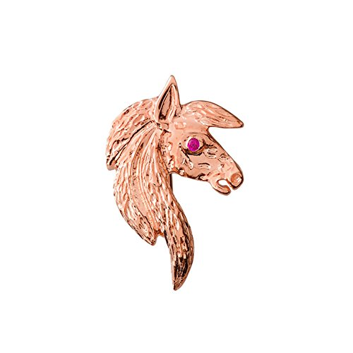 Dazzling 14k Rose Gold Ruby Eyed Horse Head Charm Pendant ()