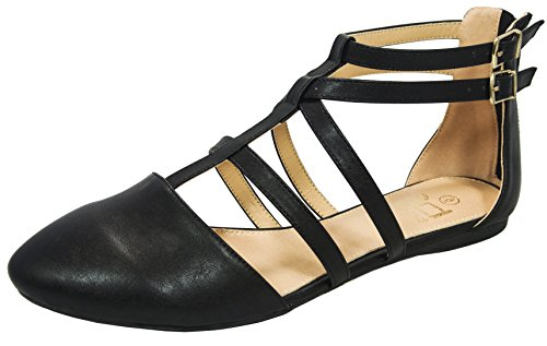 Betani FC42 Women's T-strap Ballerina Flats, Black PU 8.5 (T-strap Ballet Shoes)