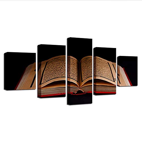 Yyjyxd Canvas Painting Hd Prints Home Decoration 5 Pieces Islamic Book Wall Art for Bedside Background Modular Pictures Artwork Poster,4X6/8/10Inch,with Frame]()