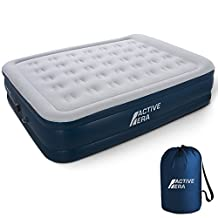 """Premium Queen Size Double Air Bed - Elevated Inflatable Air Mattress, Built-in Electric Pump, Raised Pillow & Structured Air-Coil Technology, Height 20"""""""