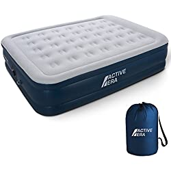 Active Era Premium Queen Size Air Mattress - Elevated Inflatable Air Bed, Electric Built-in Pump, Raised Pillow & Structured Air-Coil Technology, Height 20""