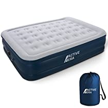 Active Era Queen Size Double Air Bed - Elevated Inflatable Air Mattress, Built-in Electric Pump, Raised Pillow & Structured Air-Coil Technology - Luxury & Premium