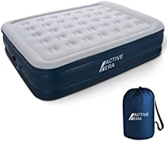 Premium Queen Size Double Air Bed - Elevated Inflatable Air Mattress, Built-in Electric Pump, Raised Pillow & Structured...