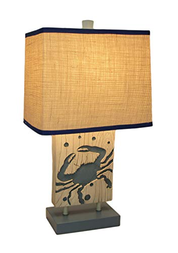 Blue and White Coastal Crab Table Lamp with Linen Look Shade