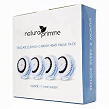 Replacement Brush Head for Delicate Skin Cleaning. For Fragile, Delicate or Dry Skin. Works on Face and Body. Compatible with Clarisonic MIA, MIA 2, ARIA, PRO and PLUS Cleansing Systems. (4-Pack Delicate Brush Head