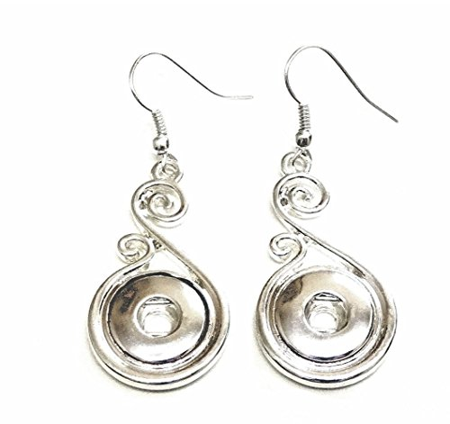 My Prime Gifts Interchangeable Mini Snap Jewelry Hook Earring Swirl Design holds 12mm Snaps (Design Snap Ring)