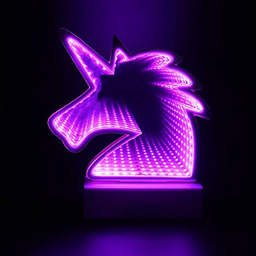 (Tunnel Lamp 3D Infinity Mirror Light Decor Light LED Night Light,Neon Lights Wall Table Lamp Battery Operated/USB Cable Decoration for Bedroom, Party, Christmas, Kids Birthday Gift (Purple)