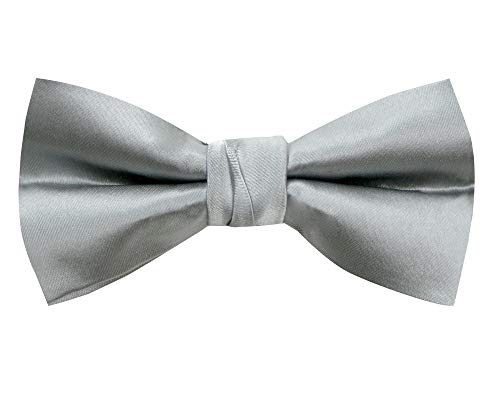 (Spring Notion Men's Solid Color Satin Microfiber Bow Tie Silver Grey )
