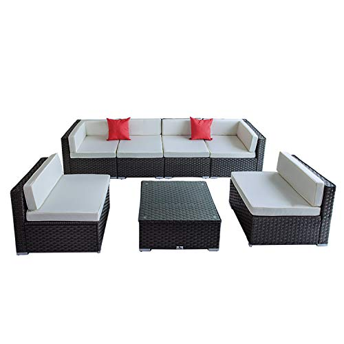 Welpatio 7 PCs PE Rattan Wicker Outdoor Patio Furniture Sectional Conversation Sofa Set with Tea Table, Cushions & Pillows