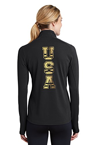 Kamal Ohava Women's USA Gold Quarter Zip Pullover, 3XL, Black