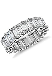 Sterling Silver Emerald Cut Eternity Band Cz Ring - Beautifully Crafted Eternity Ring with Emerald Cut Cz Stones