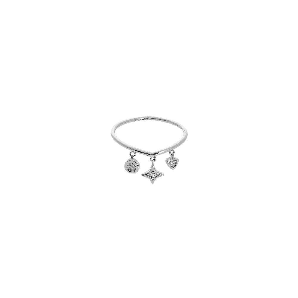 14kt White Gold 9Pt Dia Mix Dangle Element Ring