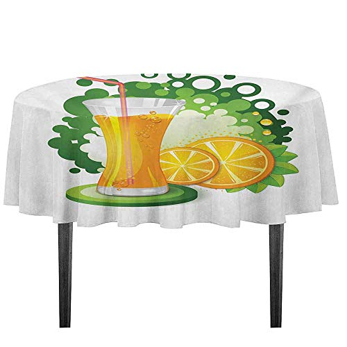 Green and Orange Washable Tablecloth Glass of Orange Juice with Green Toned Background with Fruit Slices Leaves Dinner Picnic Home Decor D59.05 Inch Multicolor