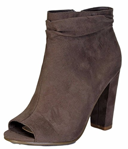 Bamboo Rampage-31V Open Peep Toe Block Heel Slouchy Ankle Bootie Boot Shoe Taupe