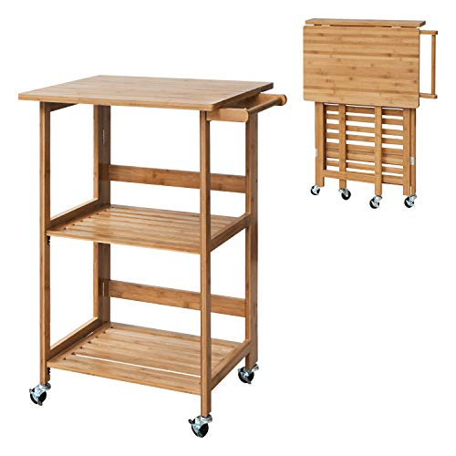 SUNVIVI OUTDOOR 3-Tier Folding Bamboo Utility Mobile Cart Dining Trolley Kitchen Island Storage Cart Rolling Service Trolley Indoor W/Lockable Wheels