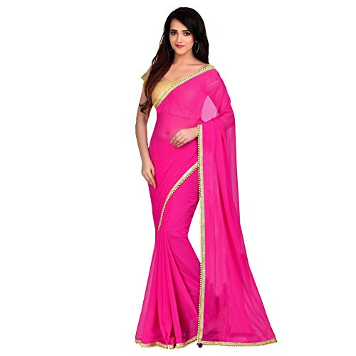 r Women's Fuchsia Pink Color Georgette Saree ()