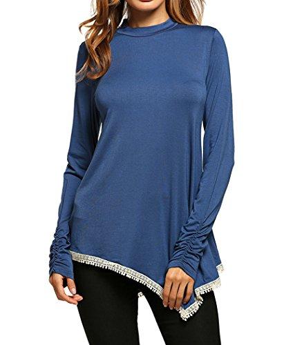 Bluetime Womens Turtle Neck Asymmetric Lace Trimmed Long Sleeve Tunic Tops (M, Blue) - Lace Trimmed Turtleneck