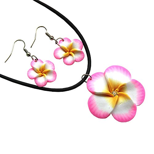 Donau Women Polymer Clay Hawaii Crystal Flower Earrings Pendant Necklace Jewelry Sets 6Colors
