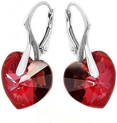 Con Cristales Swarovski Pendientes Para Mujeres Eternal Love Rojo Oscuro Corazón Plata De Ley Cierre catalán