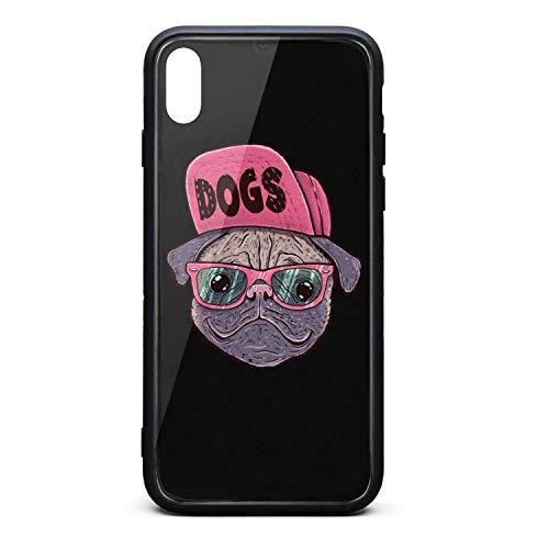 IPhoneXR Cases,Mobile Lightweight Custom Heavy Duty Fashion Cover case for Apple IphoneXR Happy Pug Fest Glasses Cap
