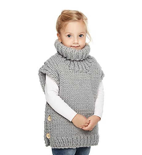 (Sumolux Kids Girls Knit Turtleneck Sweater Jumper Vest Sleeveless Cardigan Thick Warm for Autumn)