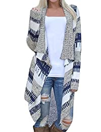 Lanbter Women Casual Long Sleeve Cardigan Autumn Striped Loose Outwear Cardigans