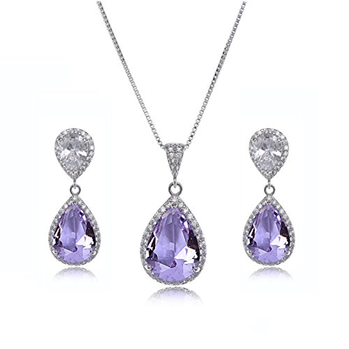Wedding Jewelry Set for Bride - Sterling Silver Teardrop Amethyst Purple Cubic Zirconia Crystal Rhinestone Necklace Earrings Set Bridal Jewelry Set Gift for Bridesmaids February Birthstone Jewelry