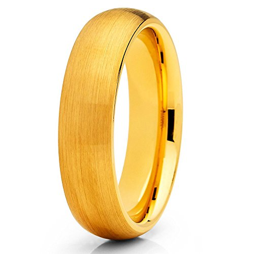 Silly Kings 6mm Yellow Gold Tungsten Carbide Wedding Band Brushed Finish Ring Men & Women Comfort Fit (Gold Brushed Finish)