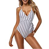 QVKis Women High Waist Sexy One Piece Swimsuit Bodysuit Striped Swimwear