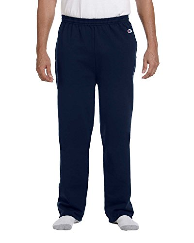 Champion Men's Double Dry Eco Fleece Open Bottom Pant, M-Navy