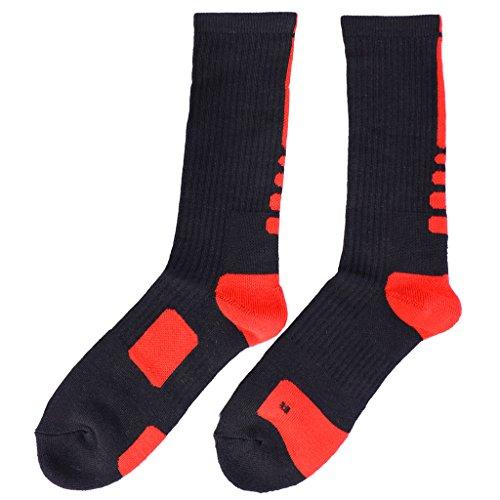 Secado Rápido de Sudor Calcetines Toalla Tubo Al Aire Libre Calcetines De Baloncesto Atléticos para Hombres - Rojo Negro+Rojo