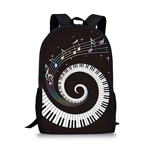 Comfortable School Bookbag Backpack Piano Key Adjustable Shoulder Straps Laptop Daypack for School/Office/Library/Shopping/Climbing/Yoga/Beach