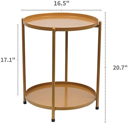 Round Metal Sofa Side End Tables Bedside Nightsand Tables Gold Removable 2-Layer Tray Easy Assembly