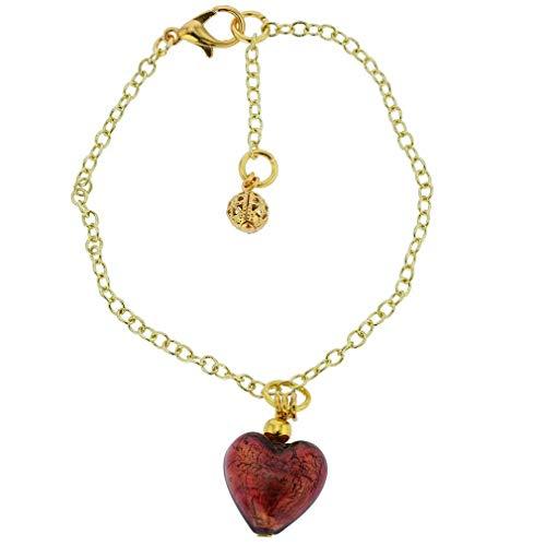(GlassOfVenice Murano Glass Heart Charm Bracelet - Red )