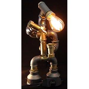 Easy2cook-Vintage- Retro Handmade- Steampunk Pipe Table Lamp- Robot Bartender