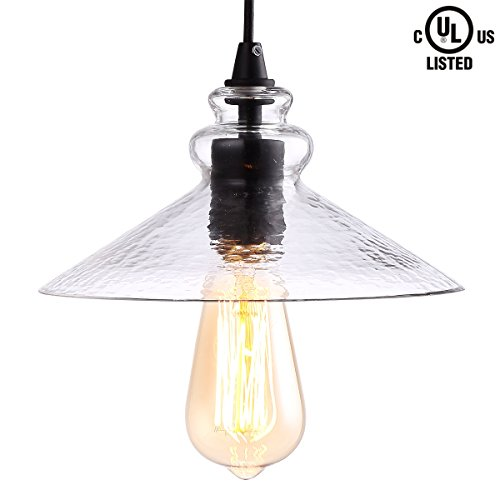CREALITE Vintage Style 1 Light Water Glass Pendant Light with Hand Blown Glass Shade in Modern Industrial Edison Style Hanging CL2017038 (Athena Glass) - Hand Blown Glass Light Fixtures